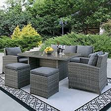 Gp Products Patio Furniture Amazon Com Atlantic 5 Piece Mustang Wicker Conversation Set With