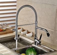 kitchen water faucet luxury dual spout pull side sprayer kitchen sink faucet deck