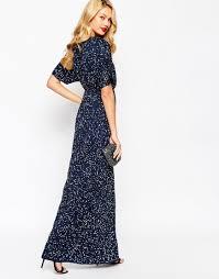 asos sequin kimono maxi dress in blue lyst