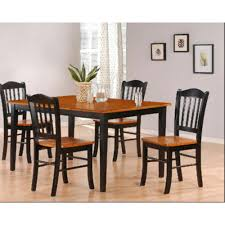 oak dining room set boraam 5 black and oak dining set 80536 the home depot