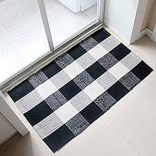Black And White Checkered Kitchen Rug Amazon Com 100 Cotton Plaid Rugs Black White Hand Woven