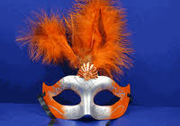 orange mardi gras mardi gras feather masks quinceanera style