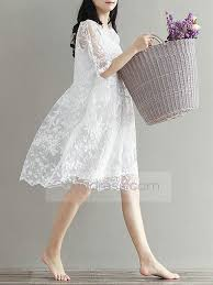save one summer loose lace embroider pregnant dress boat neck