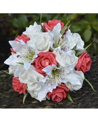 Roses And Lilies Tiger Lily And Rose Bridal Bouquet Of Silk Lilies With Any Colour