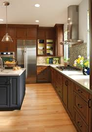 Granite With Cherry Cabinets In Kitchens Mix And Match Cabinetry Colors These In Cornell Maple Midnight