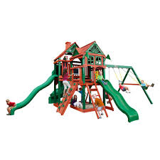 gorilla playsets malibu deluxe i with amber posts cedar playset 01