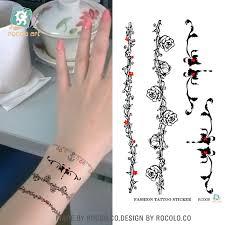 bracelet tattoo design images 5 pcs female models waterproof wrist tattoo stickers rattan flower jpg