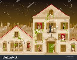 retro stone house people windows vector stock vector 523931677