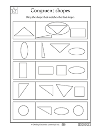 1st grade kindergarten math worksheets congruent shapes