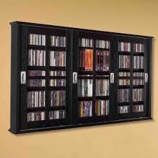 new dvd cd media storage wall cabinet glass doors wood finish
