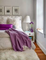 Bright Purple Rug Fluffy White Rug A Small Floor Feature For Ultimate Beauty And