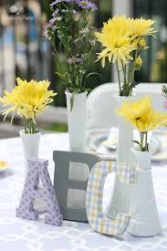 Centerpieces For Baby Shower by Purple Yellow U0026 Gray Baby Shower Parties For Pennies