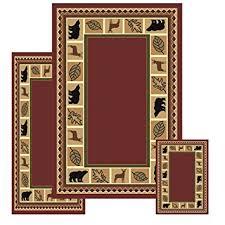 Rustic Lodge Rugs Amazon Com Furnishmyplace 3 Piece Wildlife Bear Moose Rustic