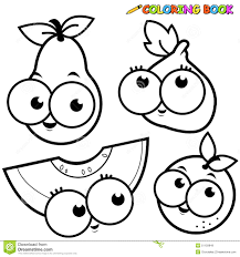 coloring page fruit cartoon set pear fig melon orange stock vector