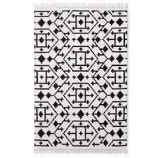 Geometrical Rugs Geometric Black White Fringed Rug
