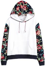 white hooded contrast floral loose sweatshirt 21 33 fashion