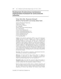 development of autonomous maintenance implementation framework for