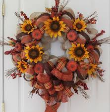 brown floral wire pumpkin and sunflower diy fall mesh wreath the wreath depot