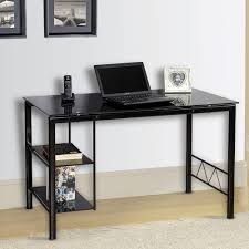 L Shaped Black Glass Desk by Innovex Black Tempered Glass Top Personal Zoey Desk Black Ebay