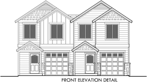 house front color elevation view for f 539 4 plex plans townhouse