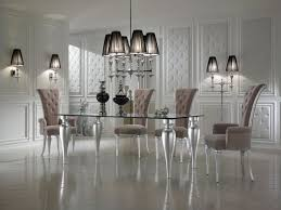 Modern Dining Room Furniture Sets Black And White Dining Room Decor With Italian Glass Top Dining