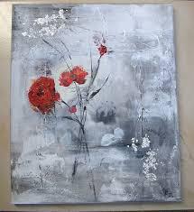 Tableau Abstrait Rouge Et Gris by Fleurs En Peinture Abstraite Recherche Google My Inspiration