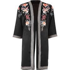 river island black floral embroidered kimono in black lyst