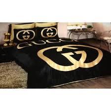 Gold Bed Set Gucci Logo Black Gold Bedding Set Size Ebay