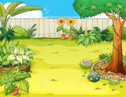 illustration of a beautiful garden and various plants royalty free