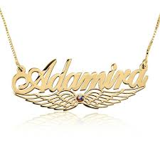 Gold Plated Necklace With Name 24k Gold Plated Wing Name Necklace With Swarovski Stone Buy Now
