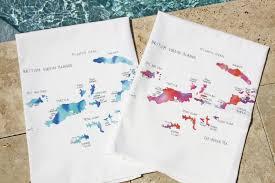 Bvi Map Watercolor Map Art Gourmet Towels