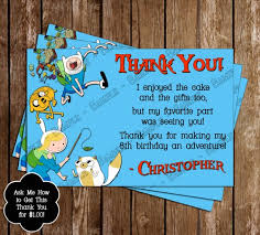 adventure time thank you card novelconceptdesigns on artfire