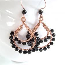 black onyx earrings onyx earrings copper wire wrapped teardrop earrings bl