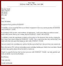 resignation letter formal resignation letter with notice period