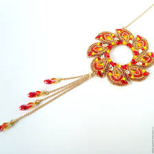 swarovski necklace red images Buy red and gold beaded necklace with swarovski fire wheel on jpg