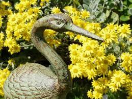 iron garden ornament heron