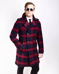 sg military top coat wool plaid southern gents