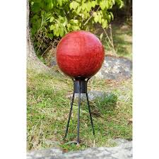 decorating concrete gazing ball stands with painted flower for