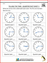 ideas of half past quarter to quarter past worksheets with