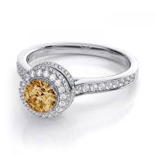 citrine engagement rings halo citrine and diamond engagement ring in 18k white gold