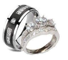 wedding rings his hers his hers cz wedding ring set sterling silver titanium edwin