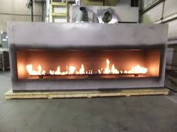 test fire custom linear fireplace with 120 inch viewing area