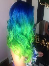 neon blue green hair color ombré melt pravana theglam room