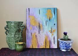 Contemporary Art Home Decor Sea Treasure 9 X 12 Inch Canvas Art Gold Teal Purple Black