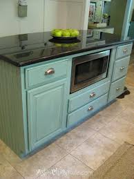 Add Trim To Kitchen Cabinets by Kitchen Island Makeover Duck Egg Blue Chalk Paint Artsy