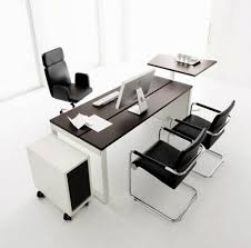 black leather ergonomic computer chair with modern desk for