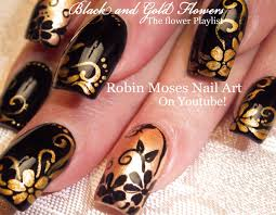 black and gold flower nails diy elegant nail design tutorial