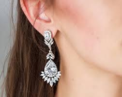Chandelier Earrings Etsy Long Bridal Earrings Etsy