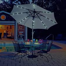 Patio Umbrellas With Led Lights by Mirage Fiesta 9 Ft Market Solar Led Auto Tilt Patio Umbrella In