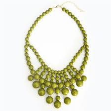 chunky beaded necklace images Retro bauble necklace chunky bead necklace bib in olive green jpg